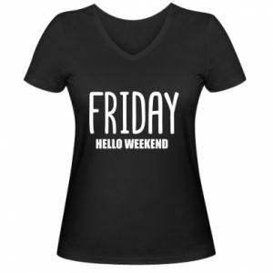 Damska koszulka V-neck Friday. Hello weekend