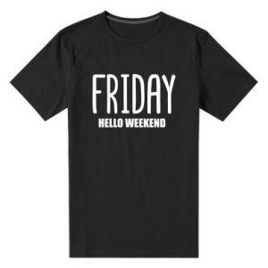 Męska premium koszulka Friday. Hello weekend