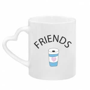 Kubek z uchwytem w kształcie serca Friends coffee