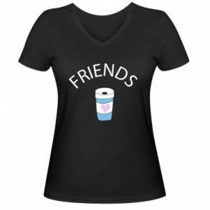 Damska koszulka V-neck Friends coffee