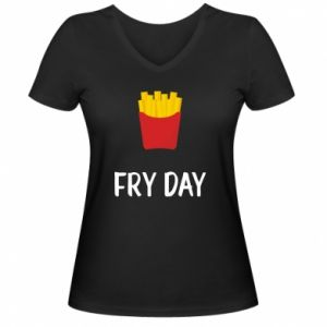 Women's V-neck t-shirt Fry day