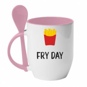 Mug with ceramic spoon Fry day