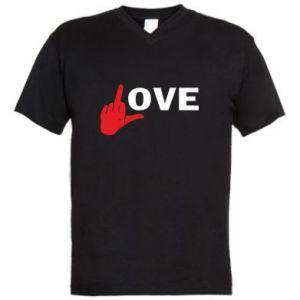 Men's V-neck t-shirt Fuck love