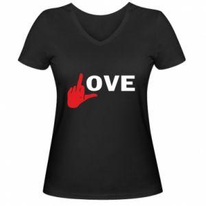 Koszulka V-neck damska Fuck love