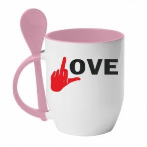 Kubek z ceramiczną łyżeczką Fuck love