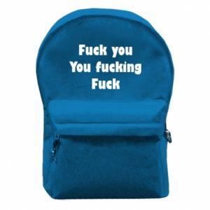Plecak z przednią kieszenią Fuck you You fucking Fuck