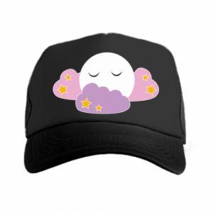 Trucker hat Full moon in the clouds - PrintSalon