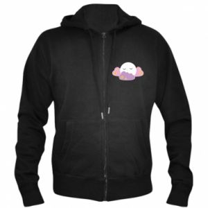 Men's zip up hoodie Full moon in the clouds - PrintSalon