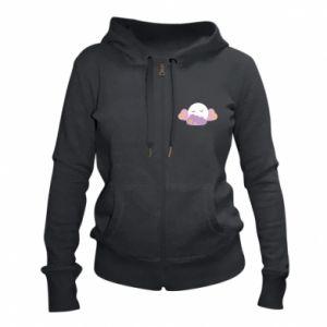 Women's zip up hoodies Full moon in the clouds - PrintSalon