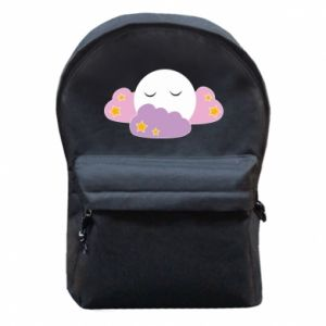Backpack with front pocket Full moon in the clouds - PrintSalon
