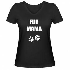 Damska koszulka V-neck Fur mama
