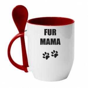 Kubek z ceramiczną łyżeczką Fur mama