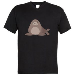 Men's V-neck t-shirt Fur seal