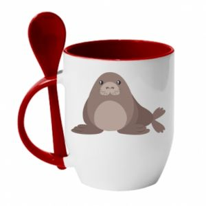 Mug with ceramic spoon Fur seal