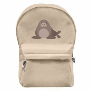Backpack with front pocket Fur seal