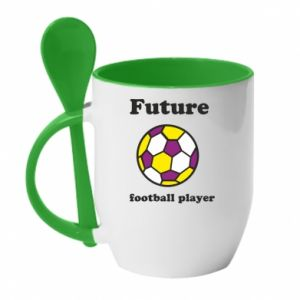 Mug with ceramic spoon Future football player - PrintSalon