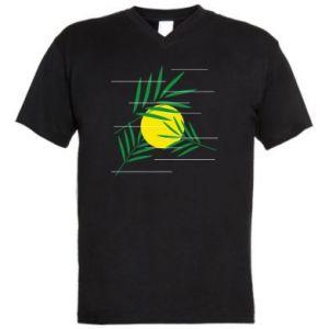 Męska koszulka V-neck Gałązki palmowe