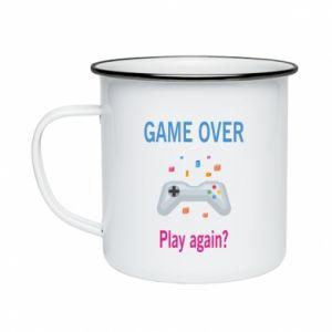 Kubek emaliowany Game over. Play again?