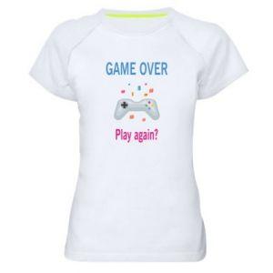Koszulka sportowa damska Game over. Play again?
