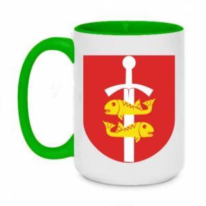 Two-toned mug 450ml Gdynia coat of arms