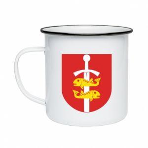 Enameled mug Gdynia coat of arms