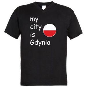 Męska koszulka V-neck My city is Gdynia