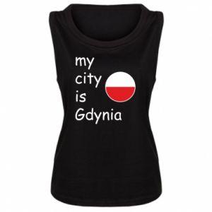 Damska koszulka bez rękawów My city is Gdynia