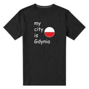 Męska premium koszulka My city is Gdynia