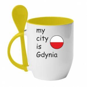 Kubek z ceramiczną łyżeczką My city is Gdynia