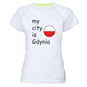 Damska koszulka sportowa My city is Gdynia