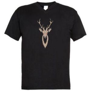 Men's V-neck t-shirt Gentle deer - PrintSalon