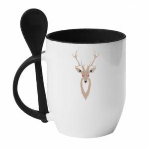 Mug with ceramic spoon Gentle deer - PrintSalon