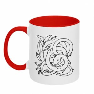 Two-toned mug Gentle snake contour - PrintSalon