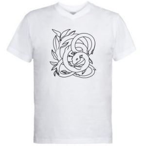 Men's V-neck t-shirt Gentle snake contour - PrintSalon