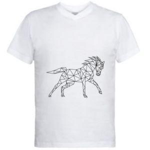 Męska koszulka V-neck Geometria konia - PrintSalon
