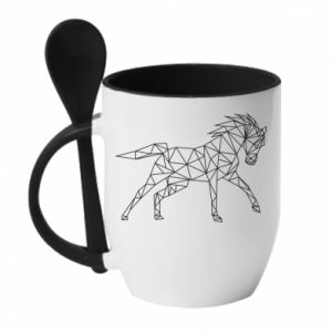 Kubek z ceramiczną łyżeczką Geometria konia - PrintSalon