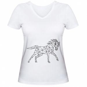 Damska koszulka V-neck Geometria konia - PrintSalon