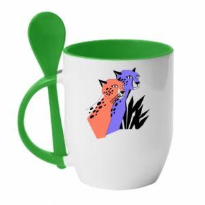Kubek z ceramiczną łyżeczką Gepardy - PrintSalon