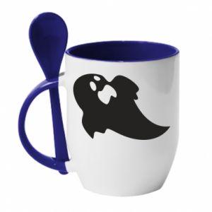 Kubek z ceramiczną łyżeczką Scared ghost