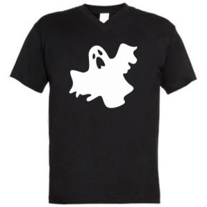 Men's V-neck t-shirt Ghost screams - PrintSalon