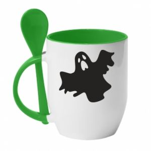 Mug with ceramic spoon Ghost screams - PrintSalon