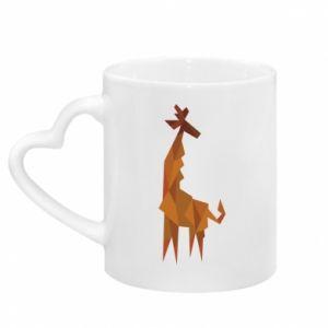 Kubek z uchwytem w kształcie serca Giraffe abstraction