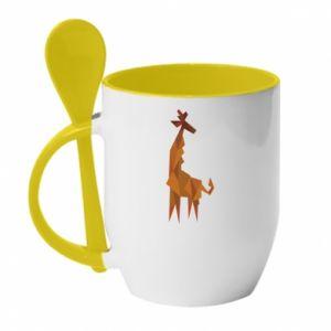 Kubek z ceramiczną łyżeczką Giraffe abstraction