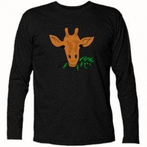 Koszulka z długim rękawem Giraffe with a branch - PrintSalon