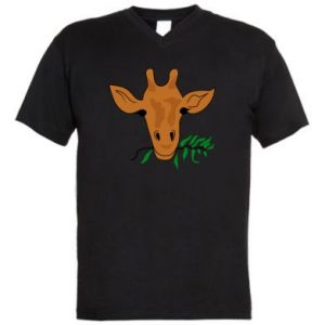 Męska koszulka V-neck Giraffe with a branch - PrintSalon
