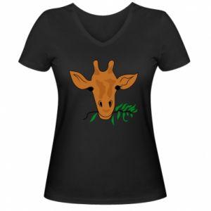 Damska koszulka V-neck Giraffe with a branch - PrintSalon