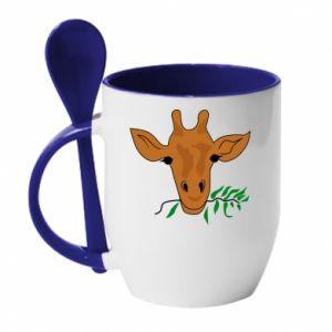 Mug with ceramic spoon Giraffe with a branch