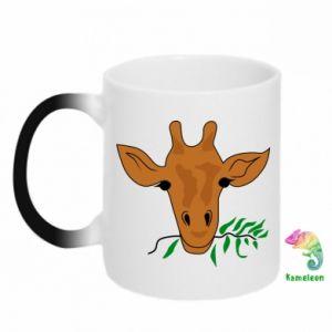 Chameleon mugs Giraffe with a branch