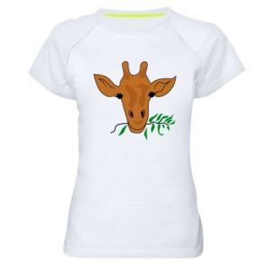 Women's sports t-shirt Giraffe with a branch