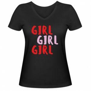 Damska koszulka V-neck Girl girl girl